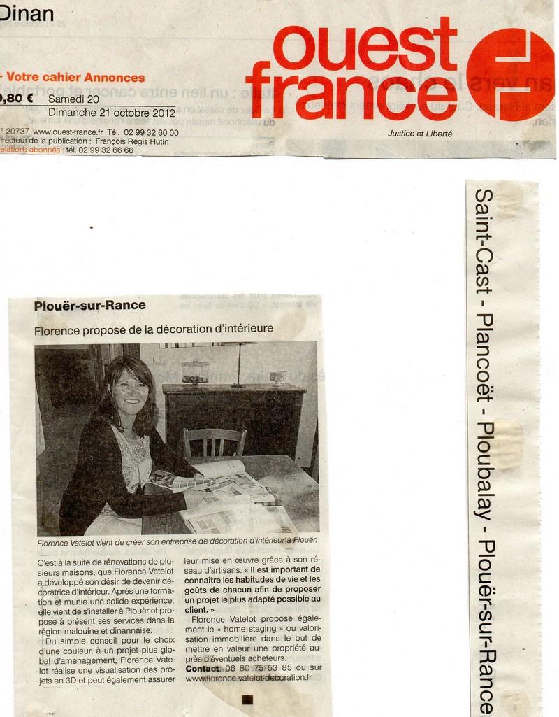 Ouest france du 20 octobre 2012 florence vatelot for Revue de decoration