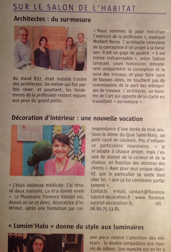 Article dans le t l gramme du 11 avril 2014 florence for Article decoration interieur