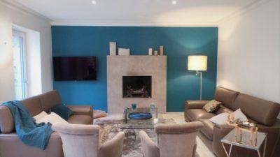 Choix couleurs dans un salon à Dinan, suite à un conseil déco par Florence Vatelot, Décoratrice UFDI à St Malo, Dinan, Dinard et Cancale (22 et 35)
