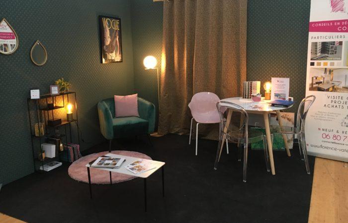 Stand lors du salon de l'habitat à Dinan avec Florence Vatelot, Décoratrice UFDI à St Malo, Dinan, Dinard et Cancale (22 et 35)