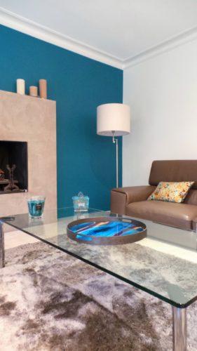 Suite à une visite conseil, choix de bleu pour ce salon par Florence Vatelot, Décoratrice UFDI à St Malo, Dinan, Dinard et Cancale (22 et 35)
