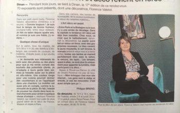 Ouest France avec Florence Vatelot, Décoratrice UFDI à St Malo, Dinan, Dinard et Cancale (22 et 35)