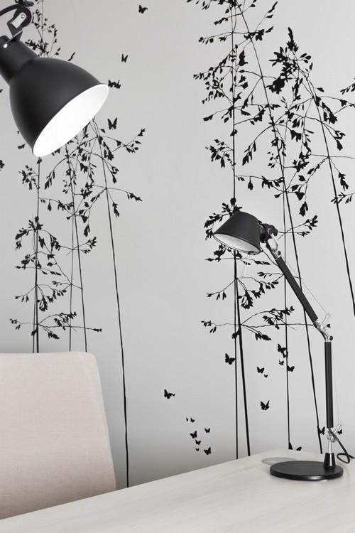 agencement d'un bureau à saint malo, par Florence Vatelot, Décoratrice Ufdi à Saint Malo, Dinard, Dinan, Cancale : détail d'un sticker effet végétal